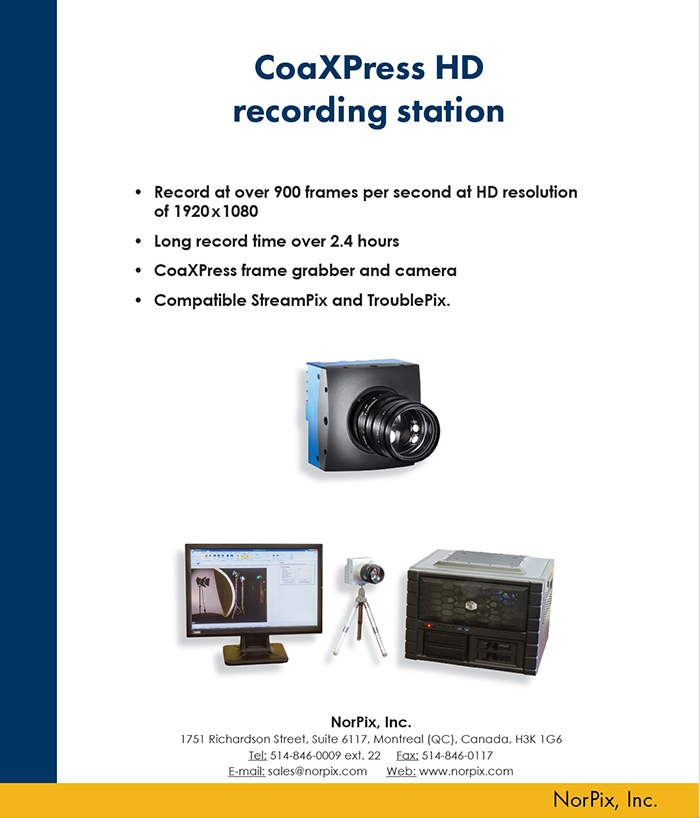 CoaXPress HD recording station by Norpix